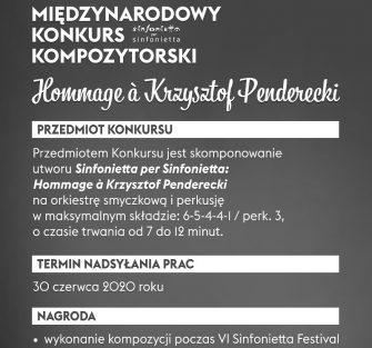 (Polski) Rusza Międzynarodowy Konkurs Kompozytorski Sinfonietta Per Sinfonietta: Hommage À Krzysztof Penderecki